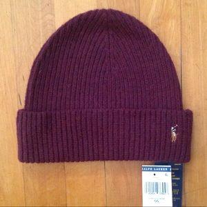 Ralph Lauren Polo Red Wine Merino Wool Beanie Hat